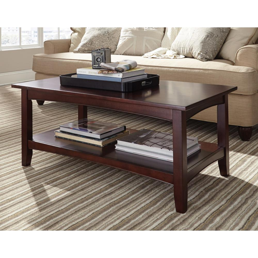 Shaker cottage espresso storage coffee table