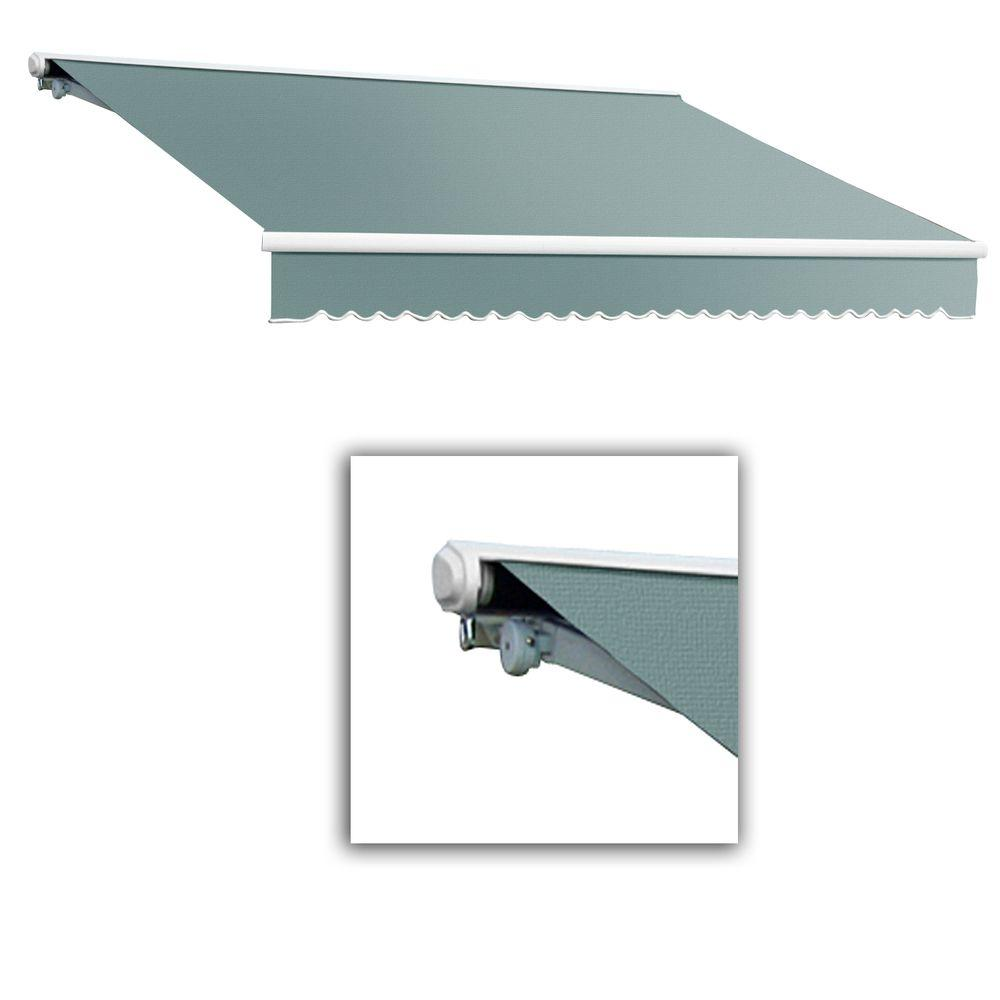 AWNTECH 10 ft. Galveston Semi-Cassette Left Motor with Remote Retractable Awning (96 in. Projection) in Sage