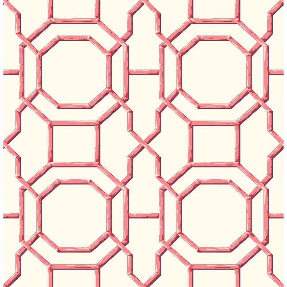 Summer Coral Trellis Wallpaper Sample