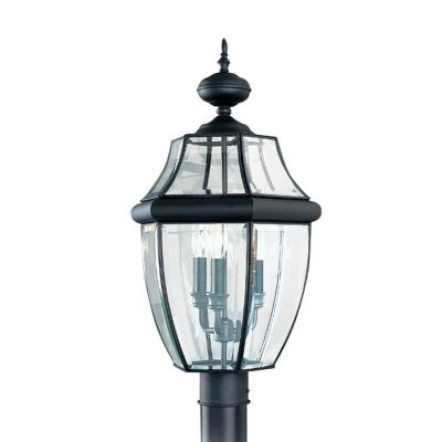 Lancaster 3-Light Outdoor Black Post Light with Dimmable Candelabra LED Bulb