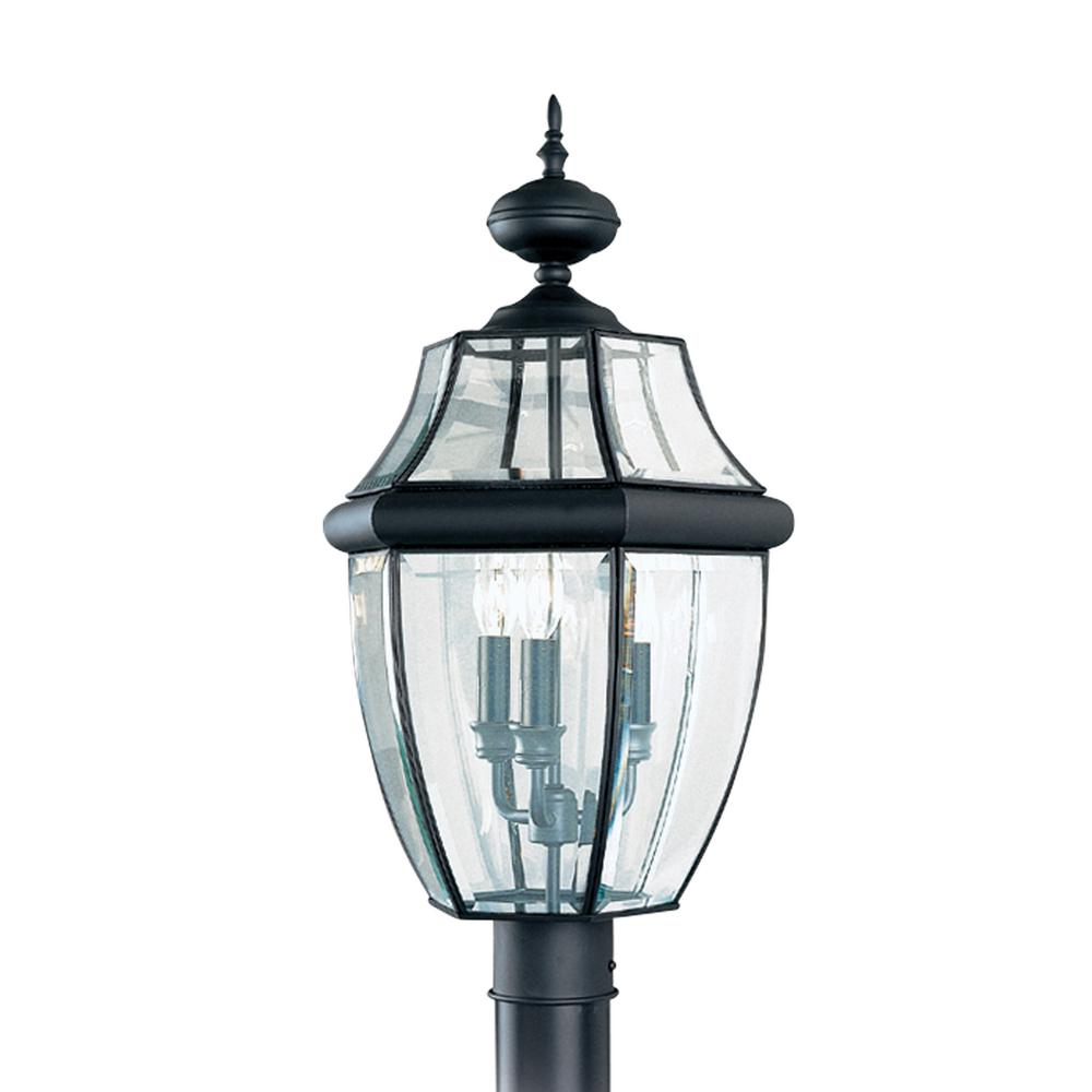 Outdoor Post Lights At Home Depot: Sea Gull Lighting Lancaster 3-Light Outdoor Black Post