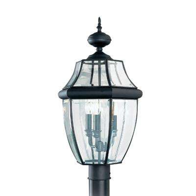Lancaster 3 light outdoor black post light