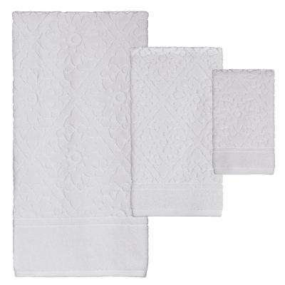 Belle 3-Piece 100% Cotton Bath Towel Set in White