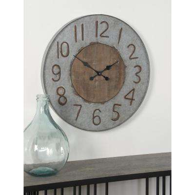 Multi-Colored Rustic Wall Clock with Brown Accents