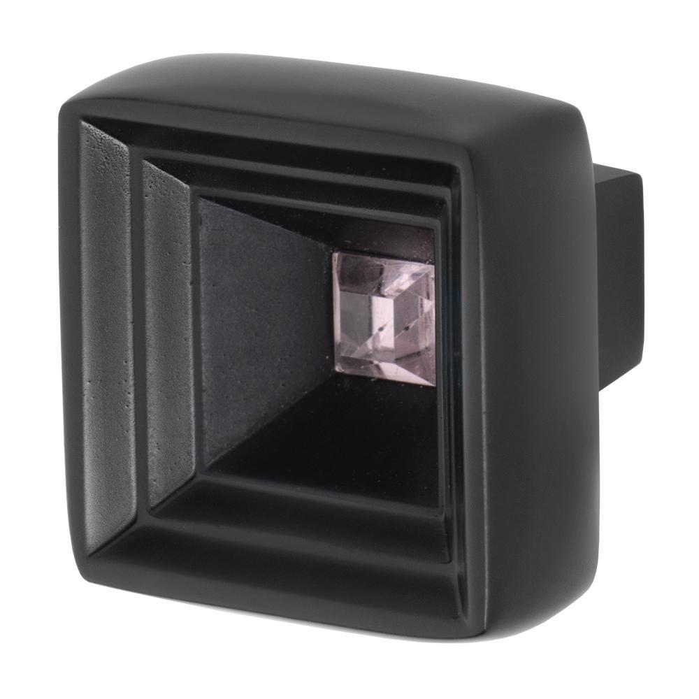 Hidden Treasure 1-1/16 in. Black with Pink Crystal Cabinet Knob