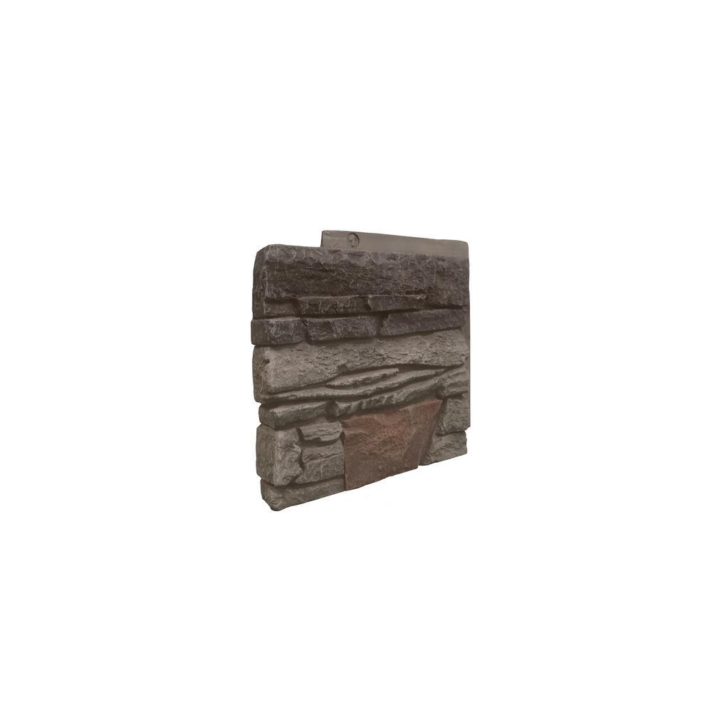 Stacked Stone Kenai 12 in. x 1.375 in. x 12 in. Faux Stone Siding Left Corner Panel