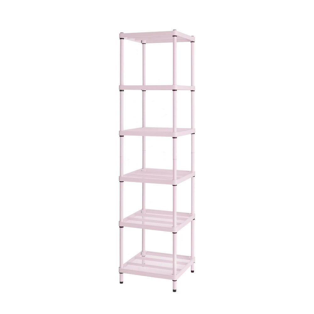 detailed look 099da 6db61 Design Ideas MeshWorks 6-Shelf Metal Blush Pink Freestanding Narrow  Shelving Unit
