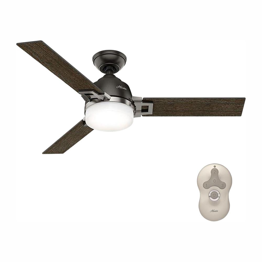 Hunter Leoni 48 in. LED Indoor Noble Bronze Ceiling Fan with Light