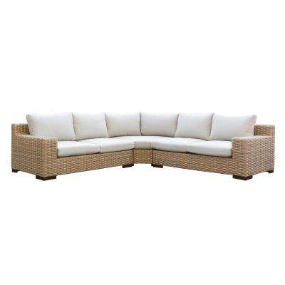 Cabana 3-Piece Wicker Outdoor Patio Sectional Seating Set with Beige Cushions