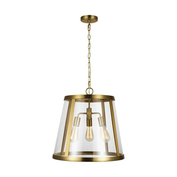 Harrow 18.875 in. 3-Light Burnished Brass Pendant with Clear Glass Shade
