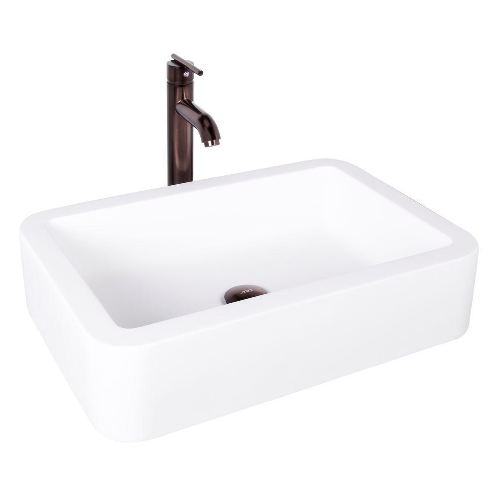 VIGO Petunia Matte Stone Vessel Sink and Seville Bathroom Vessel ...