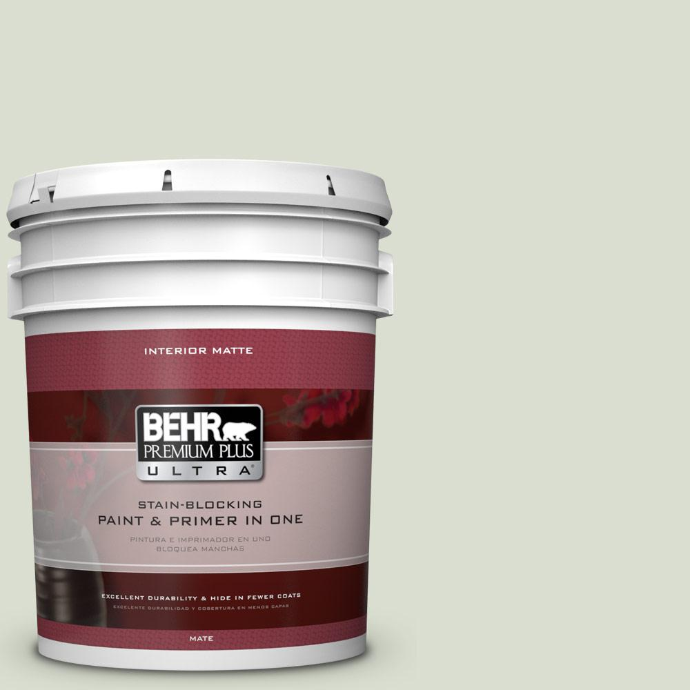 5 gal. #PPL-47 Sage Tint Matte Interior Paint and Primer in