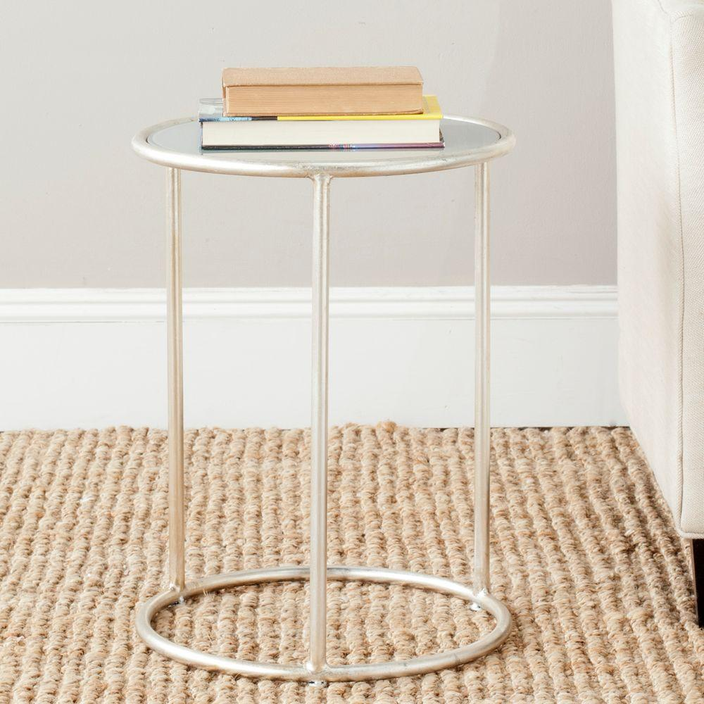 Safavieh Shay Silver and Gray Glass Top End Table