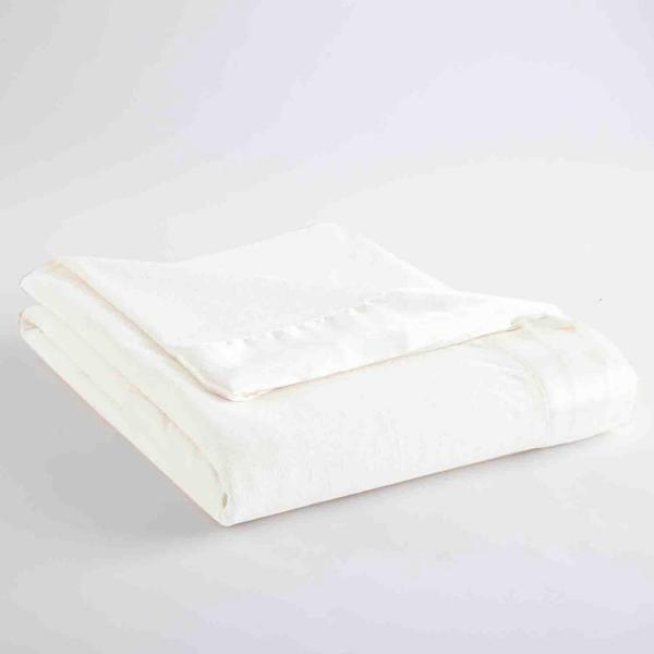Micro Flannel Full Queen White Year Round Polyester Sheet Blanket MFNBKFQWHT
