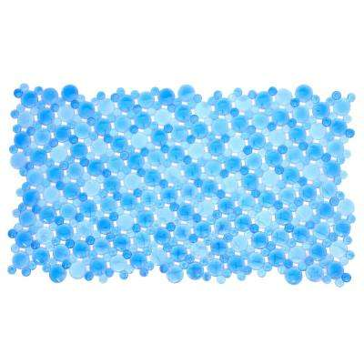 17 in. x 30 in. Burst of Bubbles Bath Mat in Blue