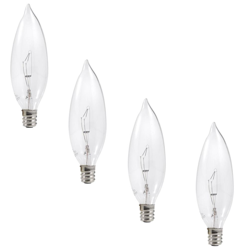 Sylvania 25 Watt Double Life B10 Incandescent Light Bulb 4 Pack