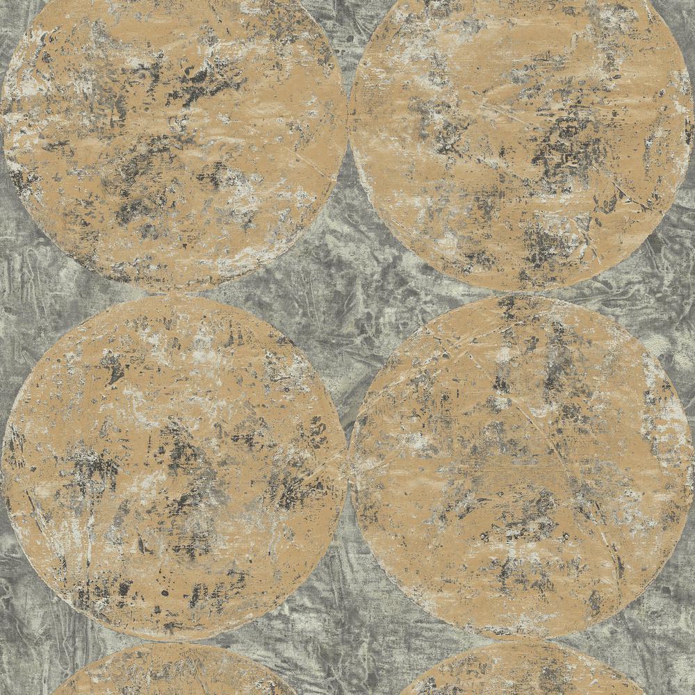 Fulton Charcoal and Metallic Gold Faux Geometric Wallpaper