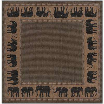 Recife Elephant Cocoa-Black 8 ft. x 8 ft. Square Indoor/Outdoor Area Rug