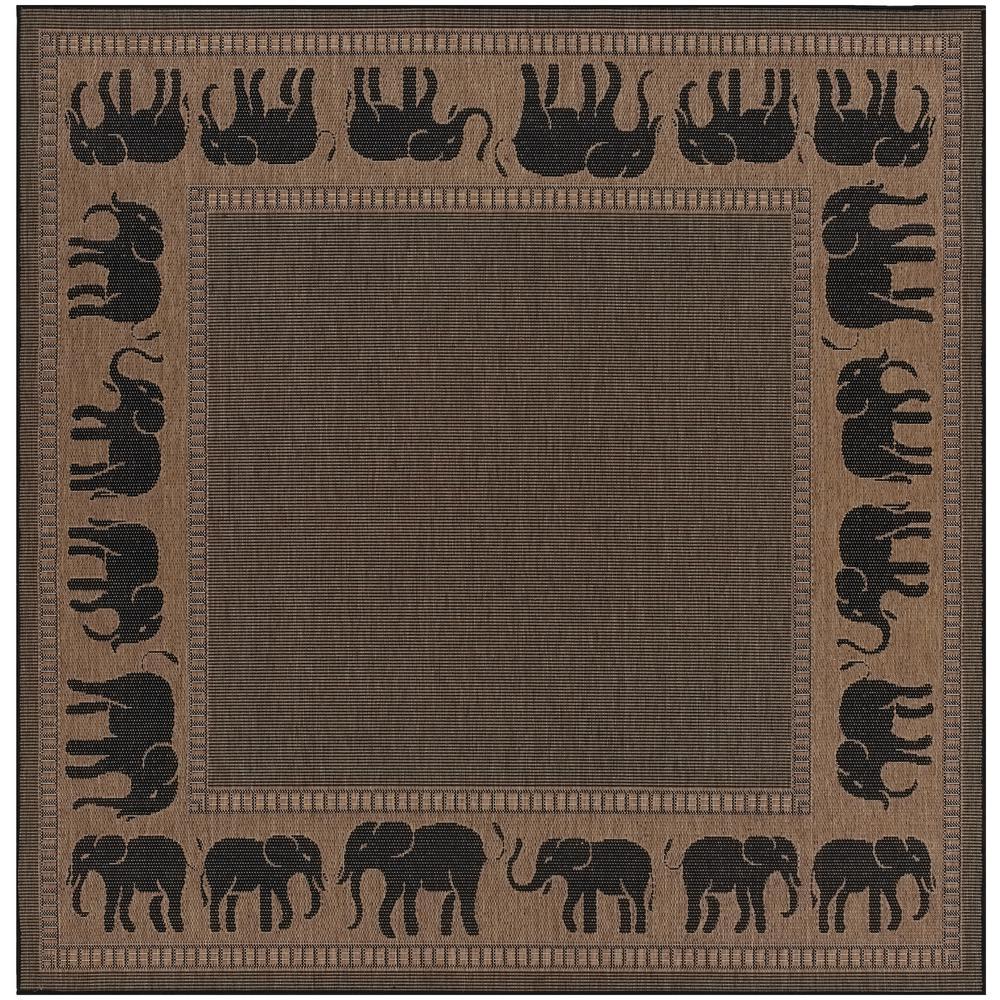 Couristan Recife Elephant Cocoa Black 9 Ft X 9 Ft Square