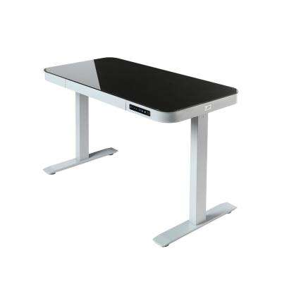 Airlift Gray 48 Tempered Gl Electric Standing Desk With Dual Usb Charging Port And Drawer