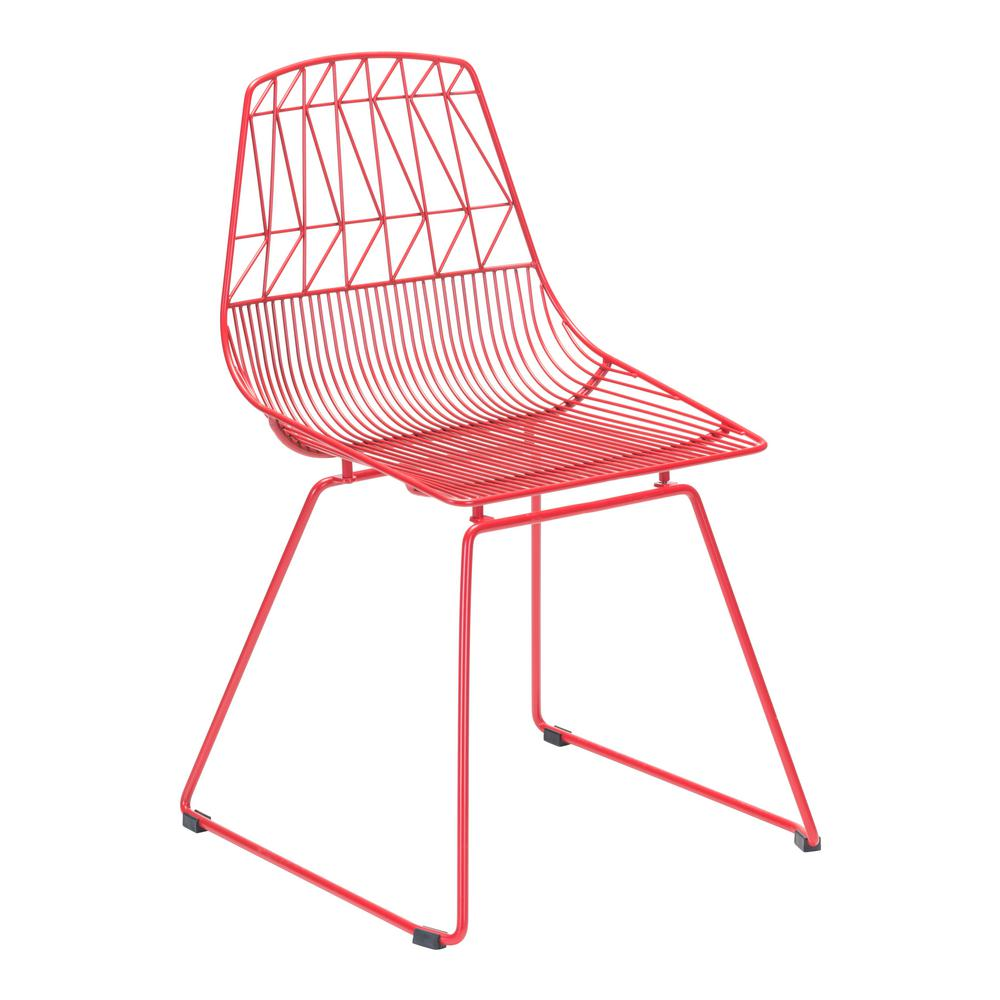 Magnificent Zuo Brody Red Metal Outdoor Dining Chair 2 Pack Creativecarmelina Interior Chair Design Creativecarmelinacom