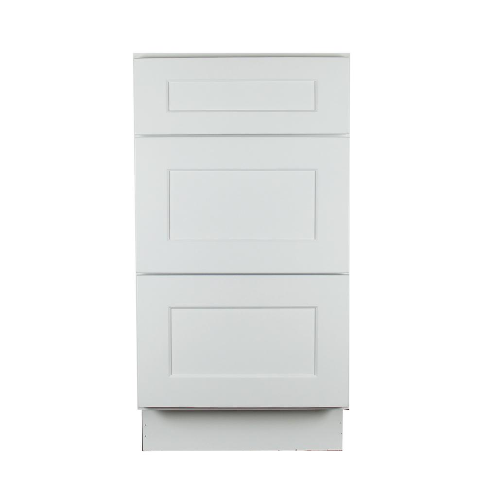 Lakewood Cabinets Shaker Ready to Assemble 12x34.5x21 in. Plywood Vanity Base Cabinet with 3 Soft Close Drawers in White