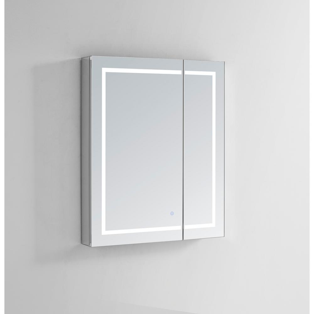 Royale Plus 36 in W x 30 in. H Recessed or Surface Mount Medicine Cabinet with Bi-View Door,LED Lighting,Mirror Defogger