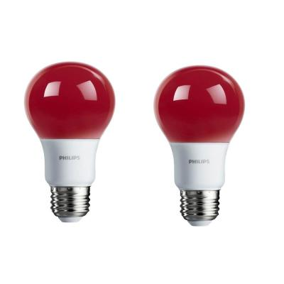 60-Watt Equivalent A19 Non-Dimmable Red LED Colored Light Bulb (2-Pack)