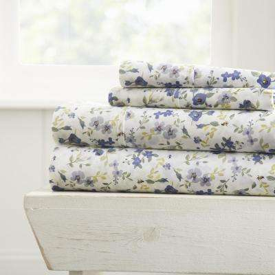 Blossoms Patterned 4-Piece Light Blue California King Performance Bed Sheet Set