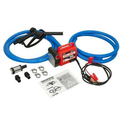 12-Volt 1/5 HP 10 GPM Portable Fuel Transfer Pump with Standard Accessories