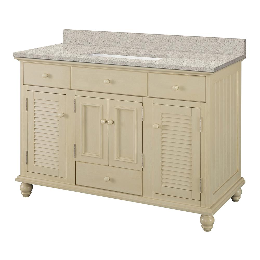 Home Decorators Collection Cottage 49 in. W x 22 in. D Vanity in Antique White with Engineered Marble Vanity Top in Sedona with White Sink