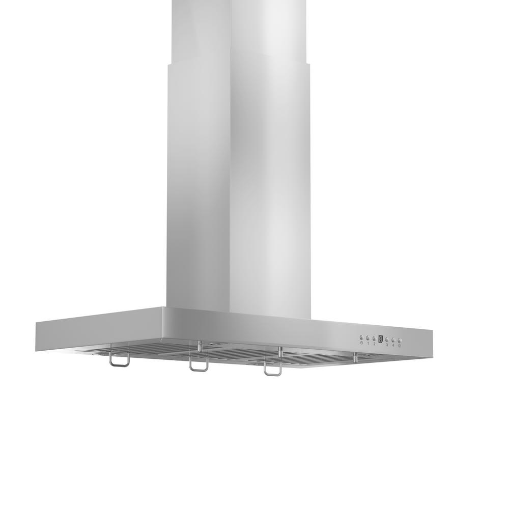 ZLINE Kitchen and Bath 48 in. 760 CFM Island Mount Convertible Range Hood in Stainless Steel, Brushed 430 Stainless Steel ZLINE 48 in. Modern/Sleek popular stainless steel Island Range Hood. Built for years of trouble free use. Easily Convertible to recirculating operation with purchase of carbon filters or standard configuration vents outside. Efficiently and quietly moves large volumes of air and fits ceilings up to 12 ft. with the purchase of the proper ZLINE extensions. Color: Brushed 430 Stainless Steel.