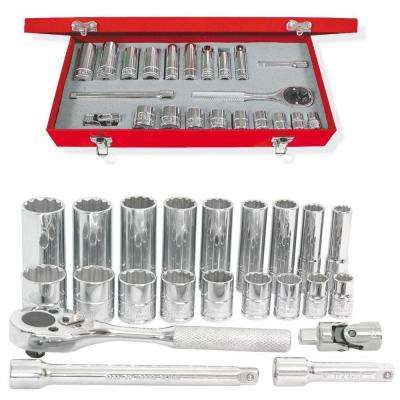 3/8 in. Drive 12-Point Deep Hand Socket & Accessories Set (22-Piece)