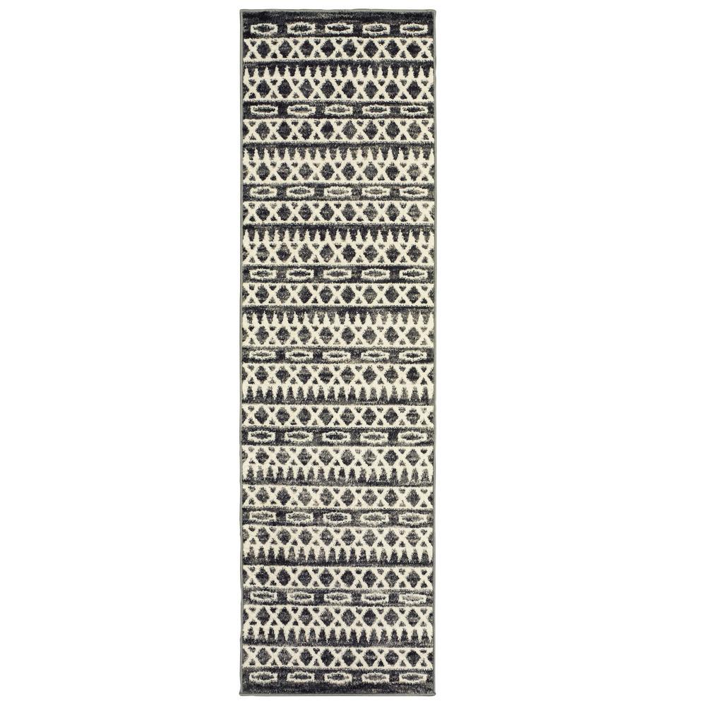 Matrix Titanium/Gardenia Rectangle 2 ft. 1 in. x 7 ft. 5 in. Indoor Runner Rug