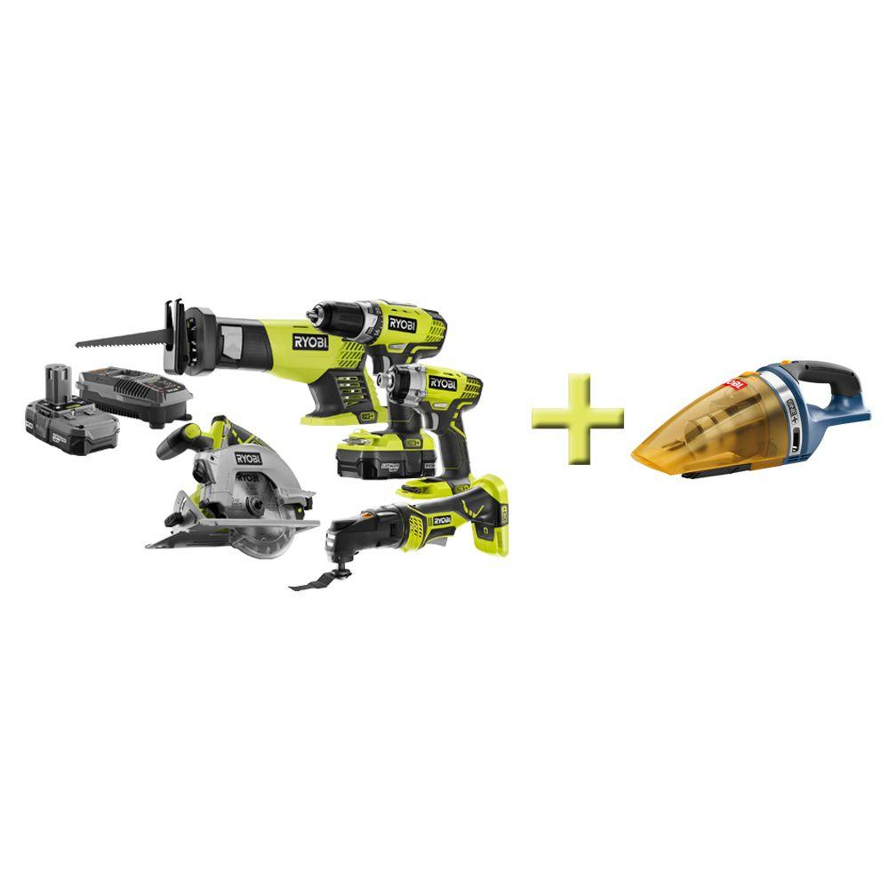 Ryobi One+ 18-Volt Lithium-Ion Combo Kit (5-Tool) with Free Hand Vac