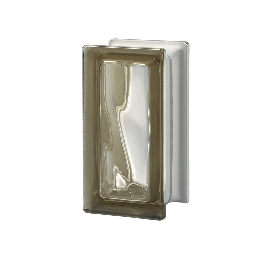 Seves Pegasus Siena RO9 3.7 in. x 7.48 in. x 3.15 in. Wavy Pattern Glass Block (5-Pack)