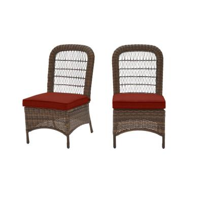 Beacon Park Brown Wicker Outdoor Patio Armless Dining Chair with Sunbrella Henna Red Cushions (2-Pack)