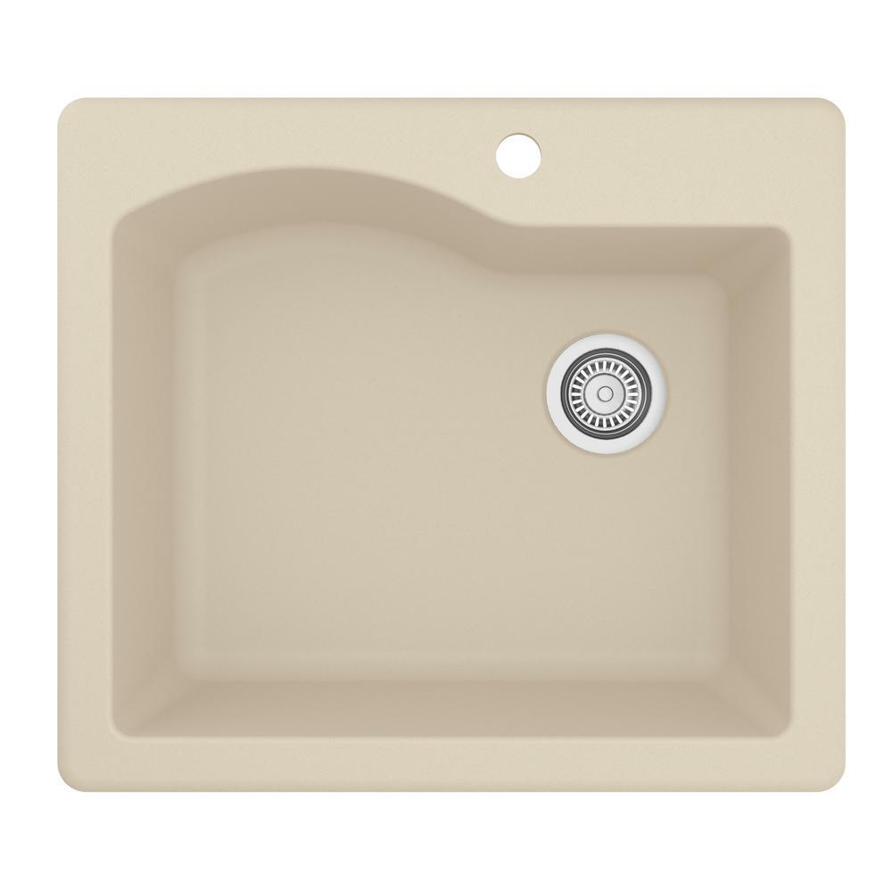 Drop-In Quartz Composite 25 in. 1-Hole Single Bowl Kitchen Sink in Bisque