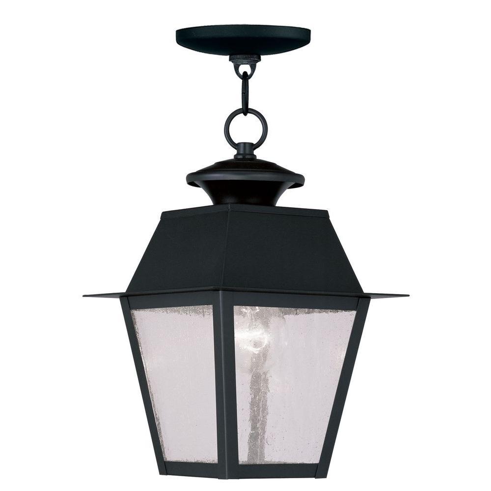 Providence 1-Light Black Outdoor Incandescent Hanging Lantern