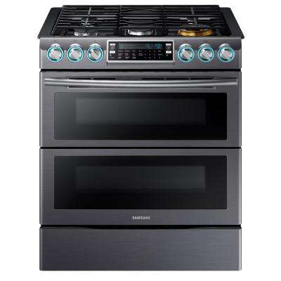 Flex Duo 5.8 cu. ft. Slide-In Double Oven Gas Range with Self-Cleaning Convection Oven in Black Stainless Steel