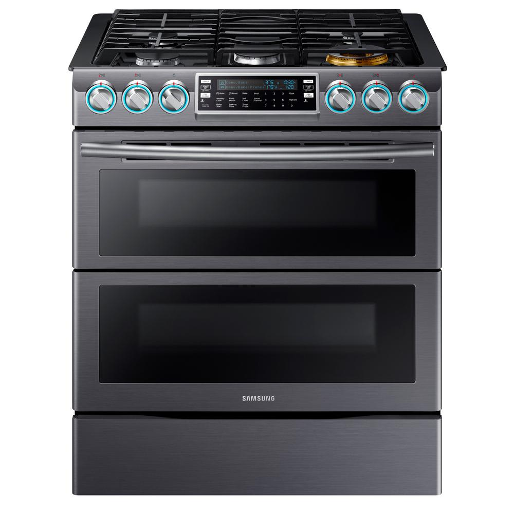 Samsung Flex Duo 5.8 cu. ft. Slide-In Double Oven Gas Range with Self-Cleaning in Fingerprint Resistant Black Stainless Steel