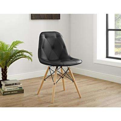 Black Tufted Faux Leather Chairs (Set of 2)