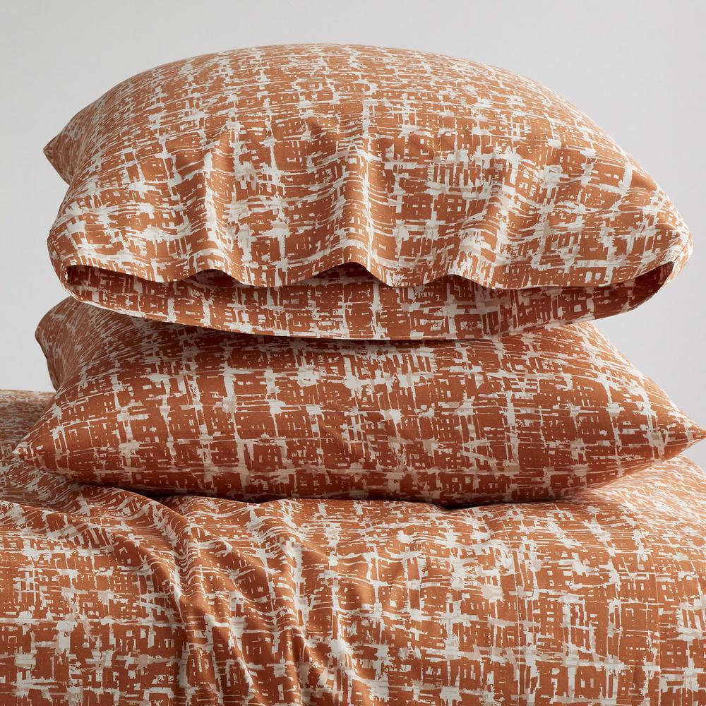 Brexton 200-Thread Count Cotton Percale King Pillowcase in Terracotta (Set of 2)