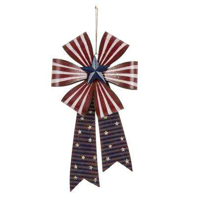 19.75 in. H Patriotic Iron Bow Wall Decor