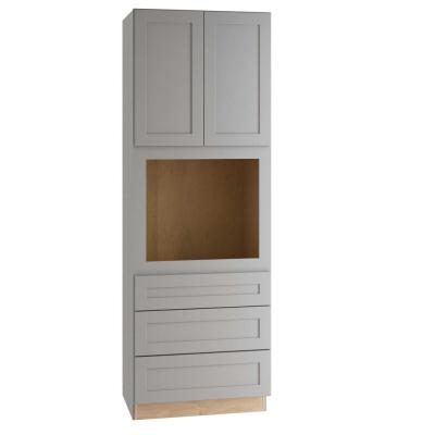 Tremont Assembled 33x96x24 in. Plywood Shaker Oven Kitchen Cabinet Soft Close in Painted Pearl Gray