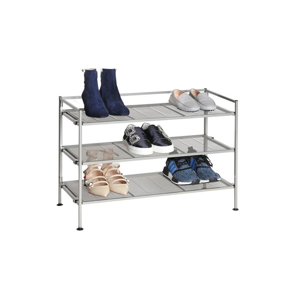 Seville Classics Satin Pewter 3-Tier Iron Mesh Utility Shoe Rack