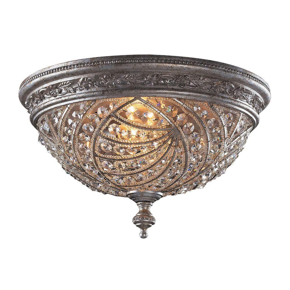 Renaissance 4-Light Sunset Silver Ceiling Flushmount