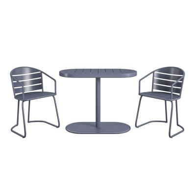 3-Piece Steel Outdoor Patio Bistro Set in Gray