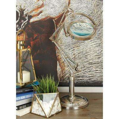 16 in. x 27 in. Nickel Silver Aluminum Magnifying Glass Decor with Adjustable Stand