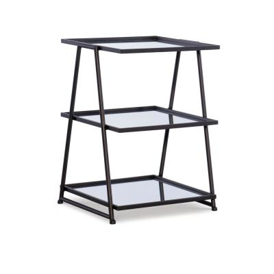 Traverse 24 in. Matte Black 3-Tier Mirror Accent Table